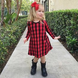 Wholesale Formal Crimson Dress - Fashion Casual Design Baby Kids Girl Dress Checked Party Princess Formal Dresses 1-6Y