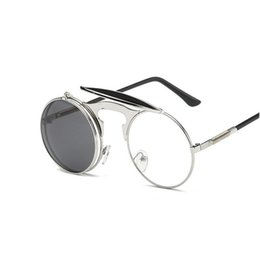 Wholesale Retro Steampunk Flip Up Glasses - Vintage Round Flip Up Designer Steampunk Sunglasses Metal Oculos De Sol Women Coating Men Retro Circle Sun Glasses ZA2906