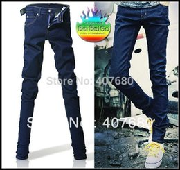 Wholesale Korean Men Fashion Jean Pant - Wholesale- Korean men's fashion solid blue slim fit skinny jean pencil pants designer jeans for men free shipping