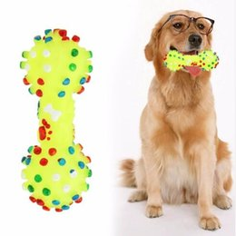 Wholesale Dog Squeeze Toys - Dog Toys Colorful Dotted Dumbbell Shaped Dog Toys Squeeze Squeaky Faux Bone Pet Chew Toys For Dogs