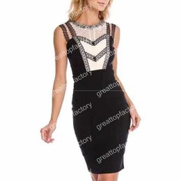 Wholesale Tight Stretch Dresses - 2017 New Dress Black Beading Stretch tight Fashion luxury Celebrity leisure Cocktail party bandage dress