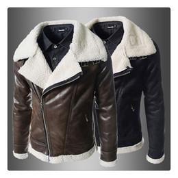 Wholesale Mens Brown Wool Winter Coat - Winter Jackets Autumn&winter PU Lamb Velvet Mens Casual Thicken Keep Warm Short Jacket Coats US Size:XS-L