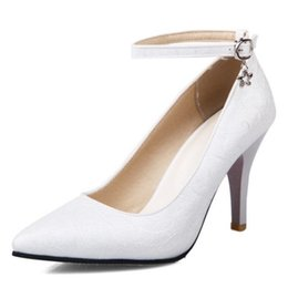 Wholesale White Large Size Wedding Shoes - SJJH Printed materail women pumps with stiletto and pointed toe ankle buckle large size US15 for wedding parties and business S158