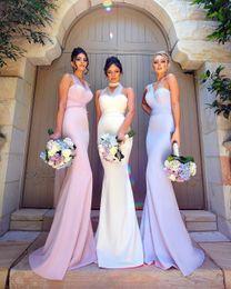 Vestido lila sin espalda online-Nuevos vestidos de Dama de honor de la sirena larga convertible del diseño Lila Pink Backless Sweetheart 2017 desgaste formal de la boda de la boda del desgaste de la boda