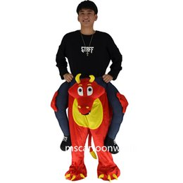 Wholesale Red Dragon Mascot Costume - The red dragon ride on me personalized prosthetic leg mascot costume adult clothing exhibition COS Halloween costume Christmas par