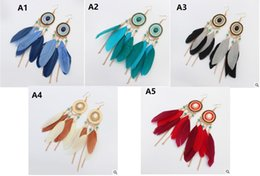 Wholesale Gold Plated Feather Wholesale - Summer new Bohemian disc feathers tassel earrings Long temperament fashion contrast color earrings Long temperam