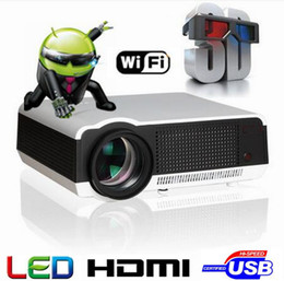 Wholesale Smart Tv Free Shipping - Free Shipping Hot Selling Android4.4 Bluetooth 5500 lumens Native1280X800 Full HD Smart Android LED Digital 3d TV Projector