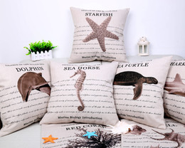 Wholesale Ocean Bedroom Lighting - Dolphin Shark Starfish Cushion Cover Ocean Animal Pillow Cover 14 Styles Thin Linen Pillow Cases 45X45cm Bedroom Sofa Decoration