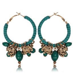 Wholesale Twining Earring - Bohemia Style Little Hoop Alloy Earrings For Women Red Green Black White Color Elephant Beads Pendant Earrings Twining Round Suede Earrings