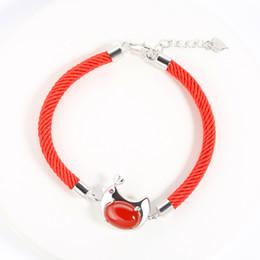 Wholesale Carnelian Bracelets - S925 silver bracelet red rope bracelets natural carnelian cute chicken bracelets Chinese animal silver bracelet woman girl gift L199