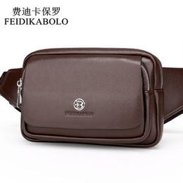 Wholesale Fanny Pack Fashion - FEIDIKABOLO New Style Leather Men's Waist Packs Multifunction Chest Pack Waist Pack Hiqh Quality Men Waist bag Casual Fanny Pack
