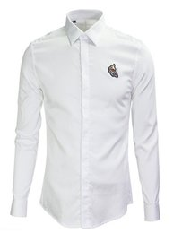 Wholesale Fishing Shirt Xl Long Sleeve - 100% Cotton Luxury Casual Shirt Animal Embroidery Fish Slim Trend Long Sleeve Turn Down Collar Brand Clothing Promotion Top