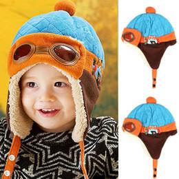 Wholesale Earflap Beanies For Kids - Boys Winter Warm Cap Hat Beanie Kids Flight Earflap Cap Pilot Beanie Hats for Children Cap Boys Winter Plus Velvet Knitted Hats