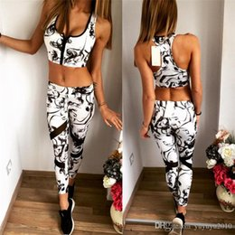 Wholesale Sleeveless Hoodie Women - 2017 Women Fashion Tracksuit Sexy Slim Fitness Vest Crop Top Hoodies High Waist Elastic Pant Blue Workout women Suit Set HGES0499