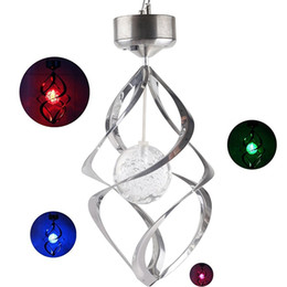 Wholesale Solar Powered Balcony Lights - Solar Powered Colour Changing LED Hanging Wind Chime Crack Ball Spiral Spinner Light Lamp for Garden Lawn Balcony Porch