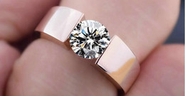 Wholesale Real Engagement Ring Men - Rings Classic Engagement Ring 925 silver 18K real rose gold filled AAA Arrows CZ Diamond lovers promise Ring for men women Solitaire Rings