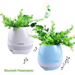 Wholesale Mini Touch Mp3 - TOKQI Bluetoth Smart Touch Music Flowerpots Plant Piano Music Playing Wireless Flowerpot colorful light Flower pots OTH405