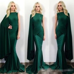 Wholesale High Shoulder Jackets - 2016 Hunter Green Mermaid Formal Evening Dresses Michael Costello One Shoulder Sweep Train Plus Size Prom Party Gowns Occasion Event Wears