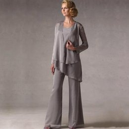 Wholesale long chiffon robe - New Elegant Grey Chiffon Weddings Mother of The Groom Bride Suits With Jacket Women Mother's Pants robe de mere de mariee Custom Made