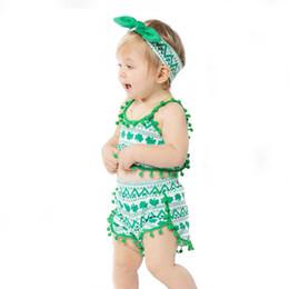 Oscillazioni verdi online-Green Beach Wear Abbigliamento per Neonate Regali estivi Set di vestiti per ragazza con top + pantaloncini Swing