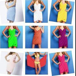 Wholesale Wholesale Silk Dresses - Women Magic Bath Towel 140*70CM Homewear Sleepwear Women's Summer Beach Strap Dress Ice silk Sling Bathrobes Dress KKA2122