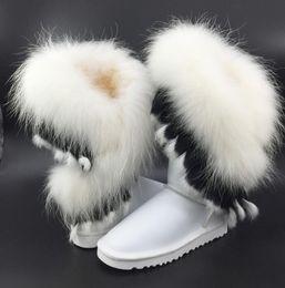 Wholesale Ladies Shoes Short Heel - 2017 Fashion Fox Fur Warm Autumn Winter Wedges Snow Women Boots Shoes GenuineI Mitation Lady Short Boots Casual Long Snow Shoes