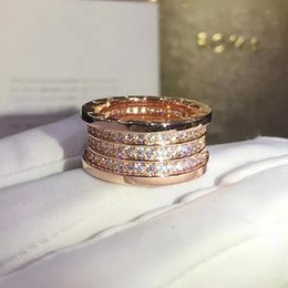 Wholesale Cheap Indian Wedding - Cheap wholesale jewelry ring spring full grain drill and diamond ring 18K rose gold thread with diamond ring couple