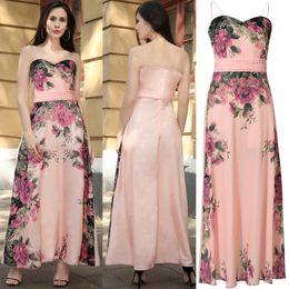 Wholesale Chiffon Skirt L - Women's Chiffon Floral Print Tie-waist Backless Clubwear Elegant Cocktail party Maxi Spaghetti Strap Skirt Size S M L XL XXL RYC00261