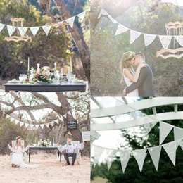 Wholesale Pennant Flags - 3.2m 12 Flags Wedding Decoration Boda Handmade Lace Pennant Party Decoration Banner Home Decoration Party Supplies Events
