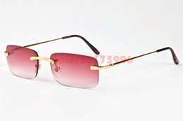 Wholesale Mirror Plain Glass - Rimless Rectangle Mens Womens Metal Coating Alloy Frame Clear  Brown Lens Plain Glasses Vintage Buffalo Sunglasses lunettes