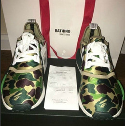 Wholesale Camo New - Top Factory NMD XR1 2016 New BATHING BA7326 Real Boost Green CAMO NMD_XR1 Camo NMD Men Running Shoes Box Receipt Keychain