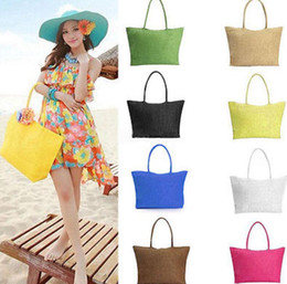 Wholesale Handbag Shoulder Shopper - Women Summer Straw Weave Shoulder Tote Shopping Lady Beach Bag Purse Handbag Straw Shoulder Tote Shopper Purses 13 color KKA1650