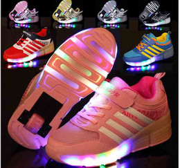 Wholesale Led Lighting For Outdoors - New 2017 Child Fashion Girls Boys LED Light Roller Skate Shoes For Children Kids Sneakers With Wheels One wheels 10design for pick size28-43