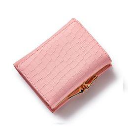 Wholesale Korean Style Lady Hobo Handbags - New elegant lady short designer wallet fashion crocodile pattern purse women card holder PU leather clutch handbag B561-8