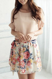 vestido de corpo branco preto e preto Desconto Venda por atacado- Pretty Women Summer Casual Chiffon Mangas Curtas Floral Dress