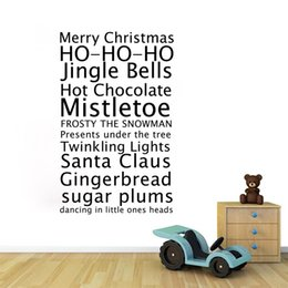 Wholesale window decal christmas - aw9445 Merry Christmas Vinyl Wall Stickers Vinyl Xmas Jingle Bells Quote Removeable Decal for Baby Kids Shop Window