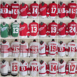 Wholesale Red Wing 13 - Detroit Red Wings Vintage 13 Pavel Datsyuk 14 Brendan Shanahan 17 Brett Hull 19 Steve Yzerman 16 Konstantinov Throwback Hockey Jerseys