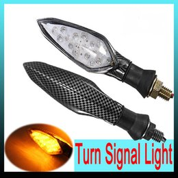 Wholesale led bike turn signals - 2x 16LED UNIVERSAL Carbon MOTORCYCLE BIKE TURN SIGNAL INDICATOR LIGHT LAMP AMBER