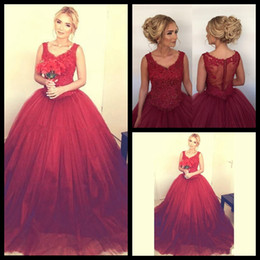 Wholesale Dresses Formales - Ball Gown Burgundy Prom Dresses Lace Appliques Vestidos formales de noche Evening 2018 Cheap Plus Size Quinceanera Dress Dubai Party Gowns
