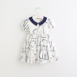 Wholesale Short Sleeve Cat Dress - Hug Me Girls Dress Kids Clothing 2017 Summer Print Cat Dress Fashion Short Sleeve Cotton Princess Dress EC-124