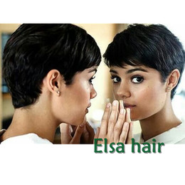 Wholesale Hair African American Women - 2017 New Pixie Cut Human Natural Hair Wig Rihanna Black Short Cut Wigs For Black Women African American Celebrity Wigs Hot Sale
