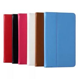 pestaña de soporte Rebajas Al por mayor-2-Folder Litchi Grain Folio Stand PU Funda de piel Funda de piel para Lenovo Tab 2 A7-10F A7-10 A7 10F 7