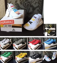 Wholesale Rubber Family - New Pharrell's NMD Human Race Runner Shoes NMDs Real Boost Hu PW Birthday running shoes Fear of God Burgundy Friends and Family