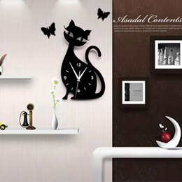 Wholesale Furniture Wall Decor - Homey Design Scarlet Red Cat Clock Modern Design Home Decor Watch Wall Stickers Get unique bedroom kids furniture
