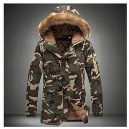 Wholesale Military Parka Fur Hood - Fashion camouflage parkas men military medium-long winter coat men thickening cotton-padded winter jacket men with fur hood