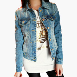 Wholesale Denim Outwear Women - Wholesale New Fashion Spring Autumn Vintage Denim Jackets Women's Jeans Short Coat Ladies Jean Tops For Girls Outwear Z8