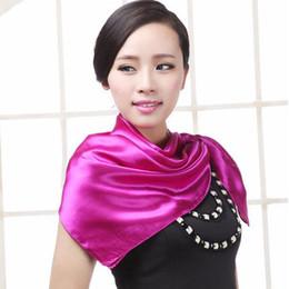 Wholesale Cheap Plain Headbands - Wholesale-Women Fashion Autumn Summer Solid Color Large Square Silk Scarves Soft Muslim HIjab Headband Cheap Shawl 90*90cm