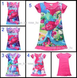 Wholesale Cartoon Beach Shorts - Free DHL 5 Style Girls Trolls Poppy Branch princess dress 2017 New Children trolls cartoon short sleeves Pajamas dresses Kids clothes B