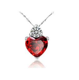 Красное сердце драгоценное ожерелье онлайн-Ожерелье-цепочка из ключицы в форме сердца Стерлинговое серебро 925 пробы