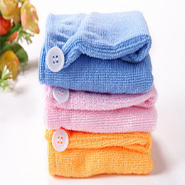 Wholesale hair drying turban towels - High Quality Microfiber Hair Dry Drying Turban Wrap Towel Hat Cap Quick Dry make up towel 1000pcs lot IC905
